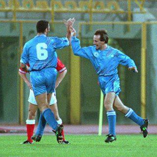 San Marino dopo il gol all'Inghilterra il 17 novembre 1993